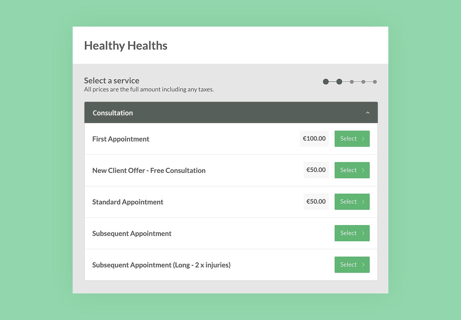 A screenshot of Cliniko's online bookings feature.