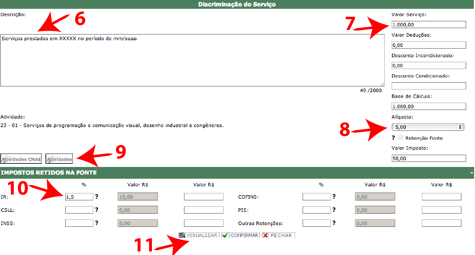 Passos 12, 13, 14 e 15 de Como Emitir Boa Nota Fiscal - ISS Curitiba no simples nacional