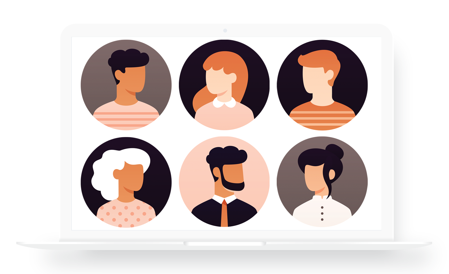 A happy group of remote worker avatars