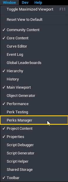 Open the Perks Manager