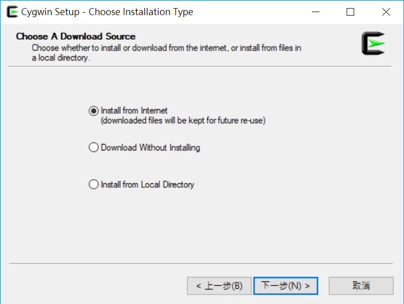 選擇 Cygwin 安裝來源