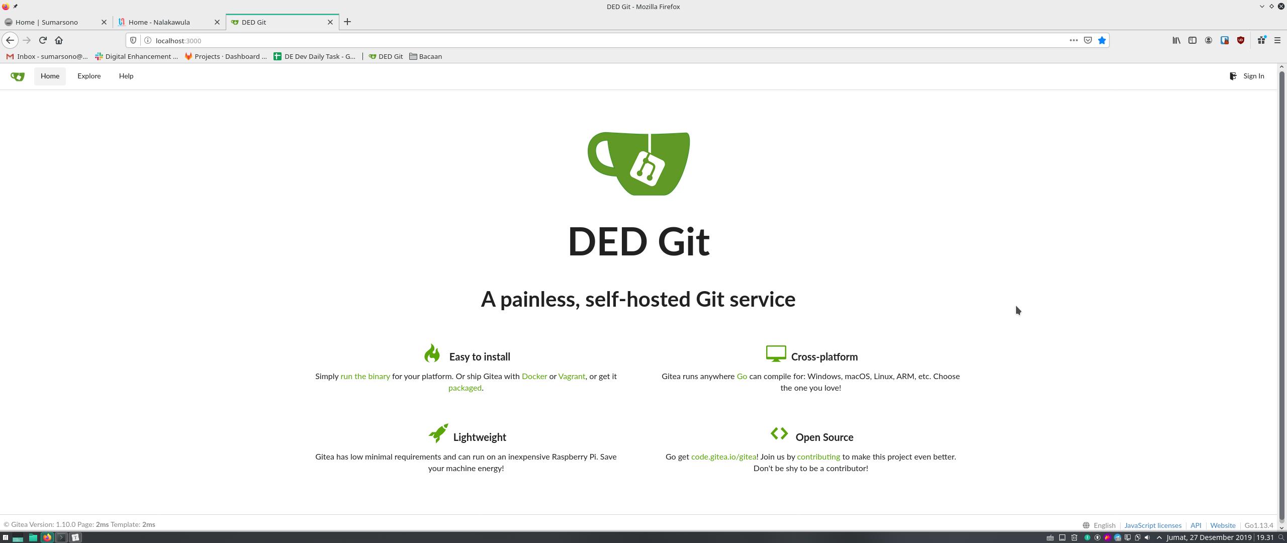 Local Git Server Pakai Gitea
