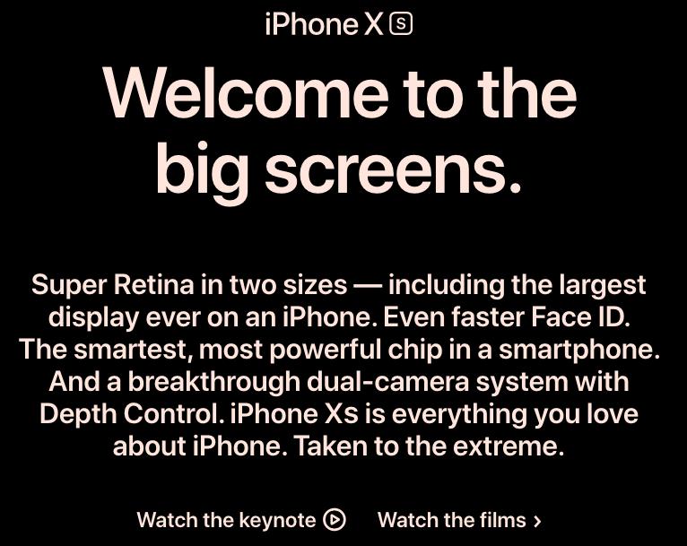 Screenshot of Apple's website