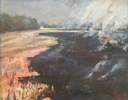 painting of field burning