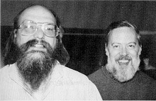 Ken Thompson (left; 1943–) and Dennis Ritchie (1941–2011), co-developers (with several others) of the Unix operating system, which underlies the design of many of the current operating systems in use today. They were awarded the Turing Award in 1983 for their work on Unix.