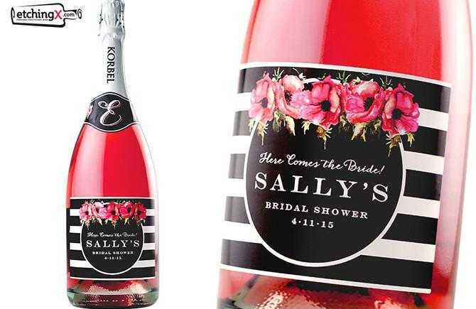 Custom labeled champagne bottle for bridal shower favors by Etching Expressions