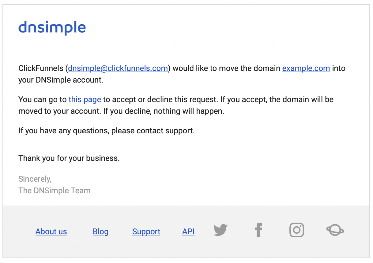 Email alerting you that a domain push is pending