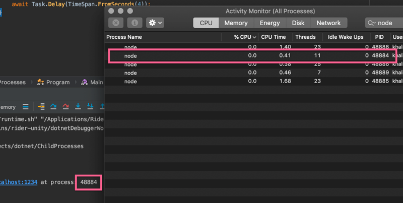 running the process with activity monitor