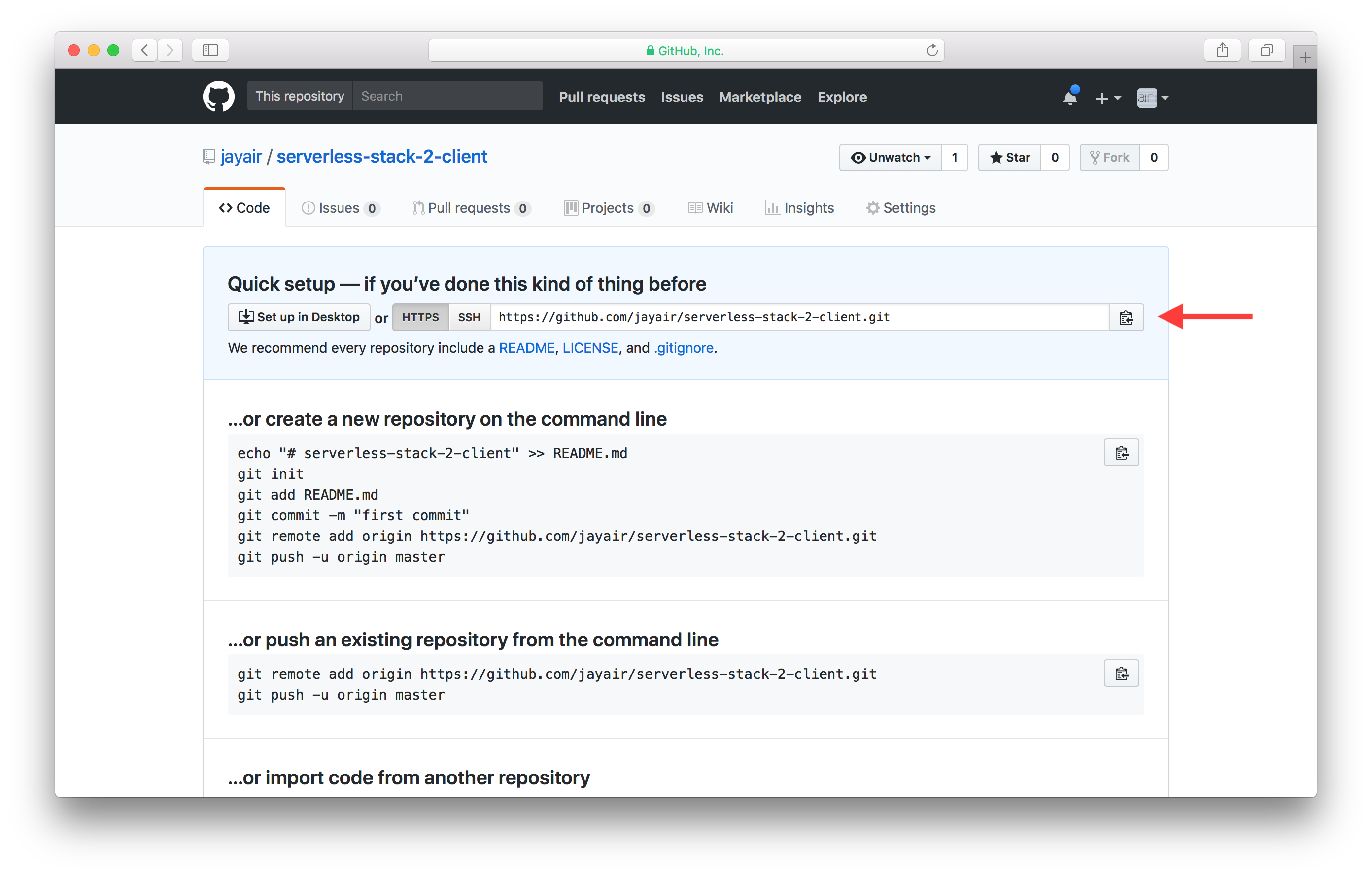 Copy new client GitHub repo url screenshot
