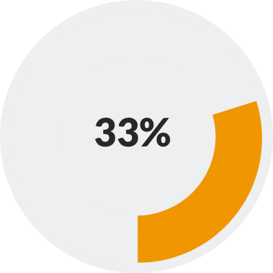 donut chart showing 33%