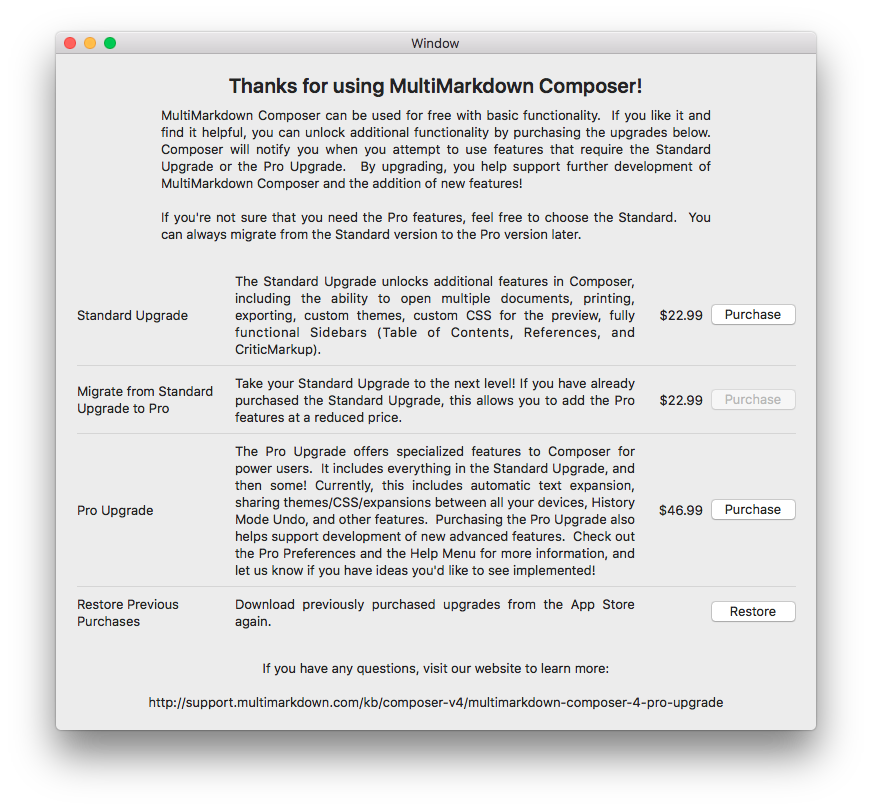 MultiMarkdown Composer Pricing