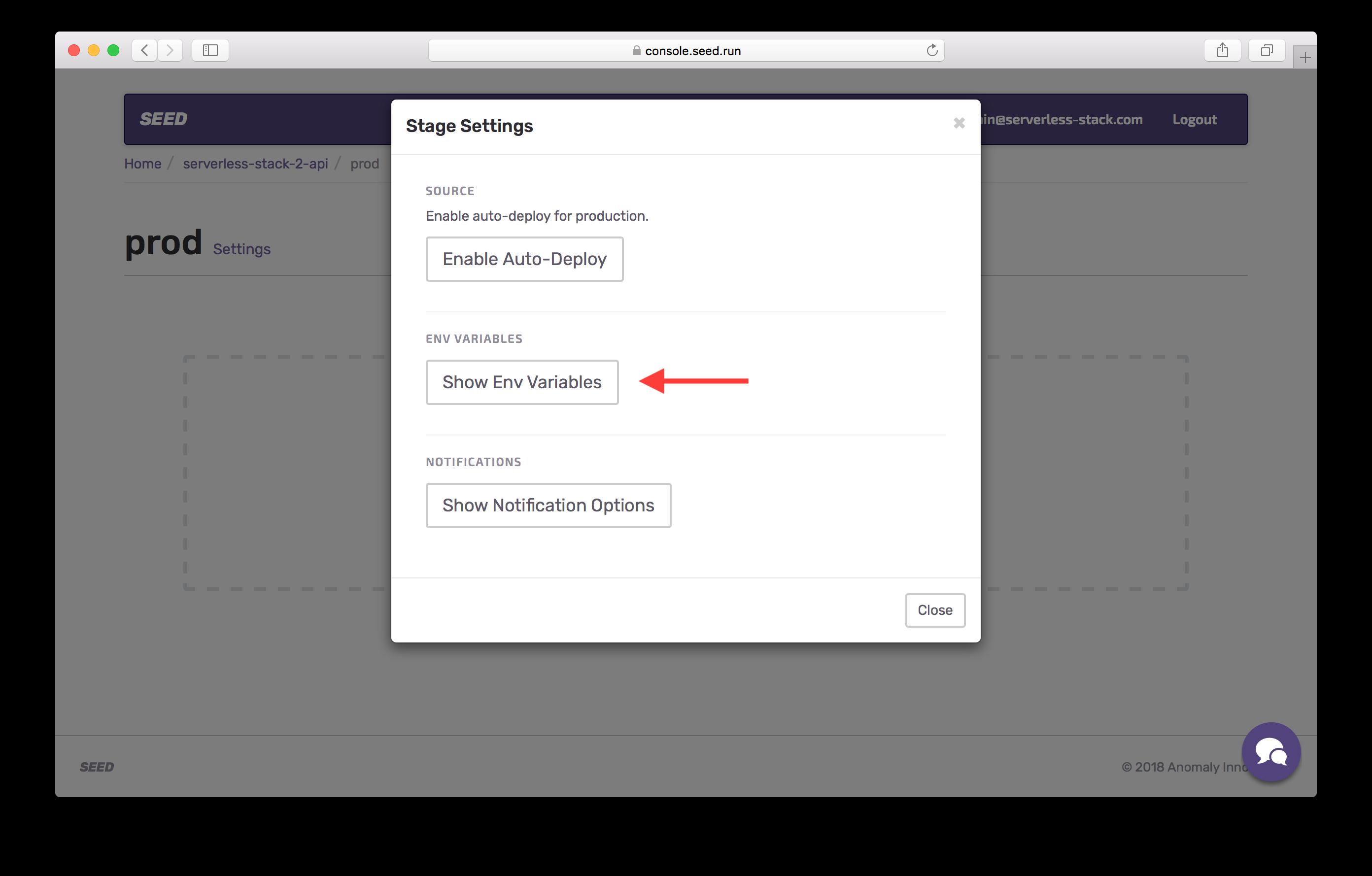 Show prod env variables settings screenshot