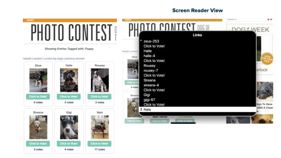 "Screenshot: A puppy website with several ""Click to Vote"" buttons, and a screen reader demonstrting how  the buttons all seem the same."