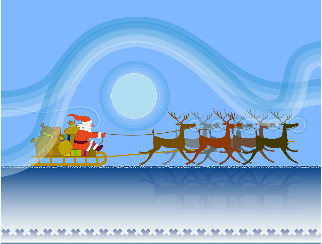 Santa Claus on his sleigh in the nordic countryside