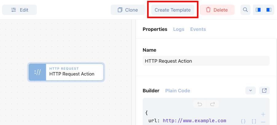Create a private template from existing action