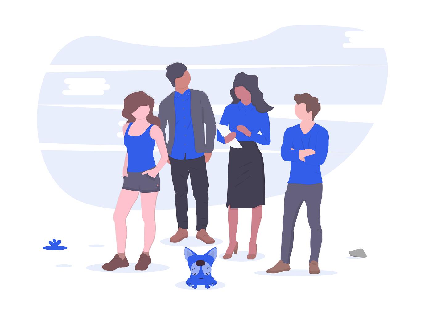 illustration of team