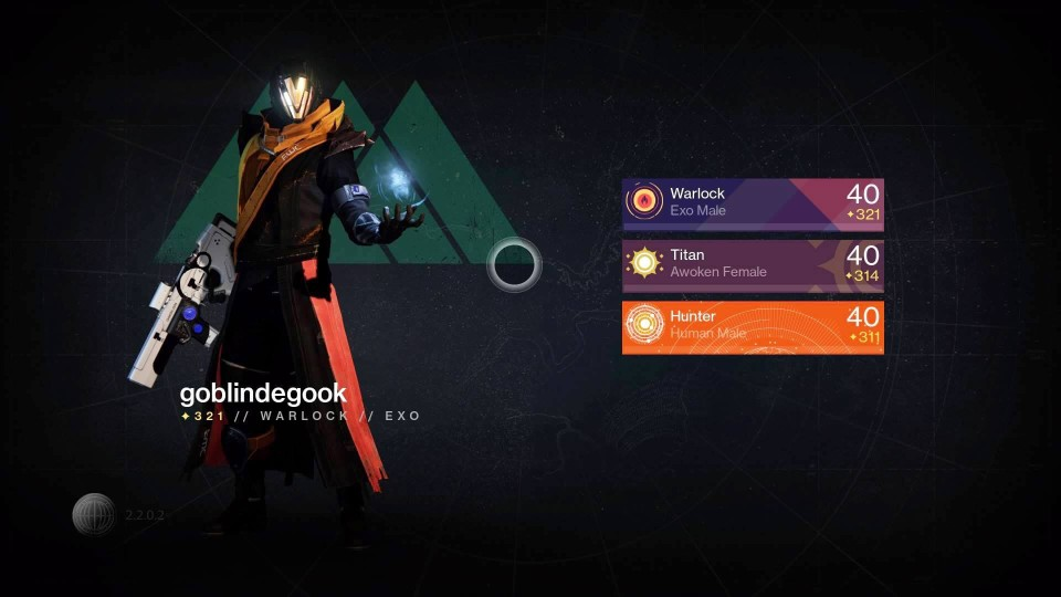 Destiny character selection screen showing my Warlock character.