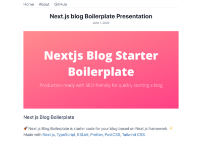 Screenshot of a page created with Nextjs Starter for Blog