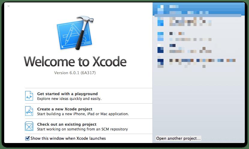 Xcode 6 - Start Panel