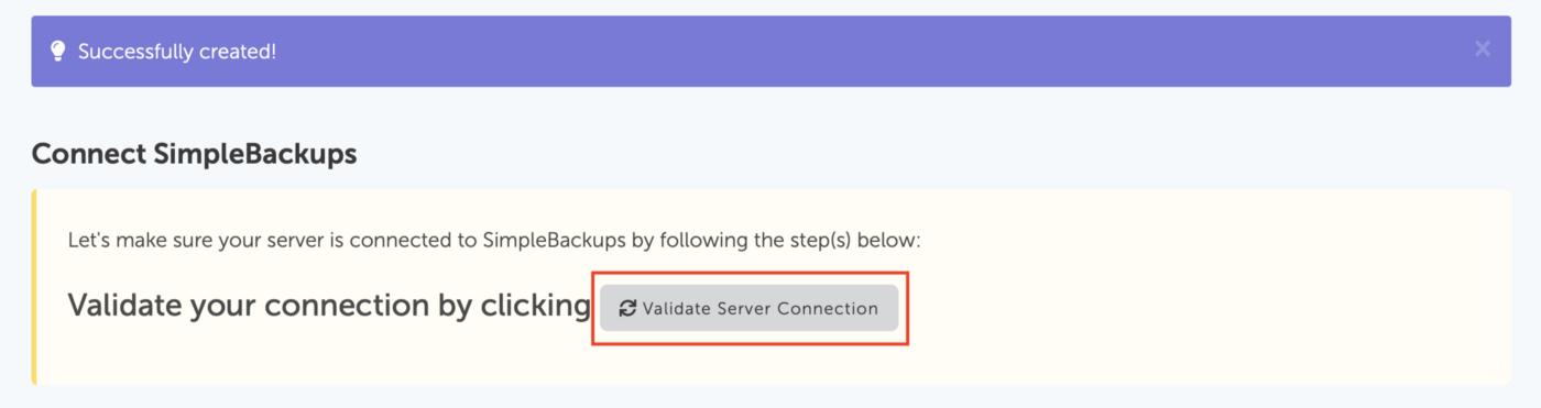 SimpleBackups - Validate server connection