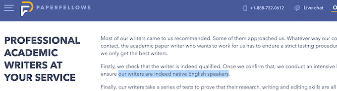 paperfellows.com false claim about native writers