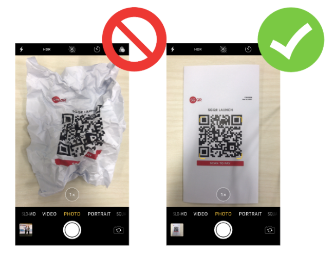 Do not crumple or deface the QR code