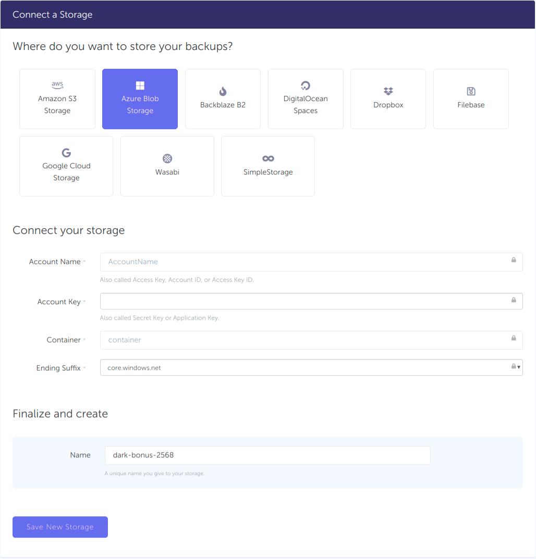 Azure storage backup - Connect storage