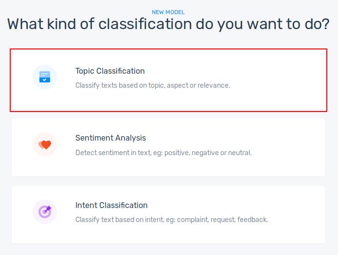 Choosing topic classification