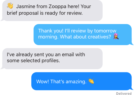 A series of text messages between Zooppa's project manager and the client