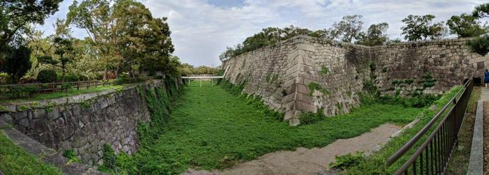 Osaka's brickwork, and defences still stand today
