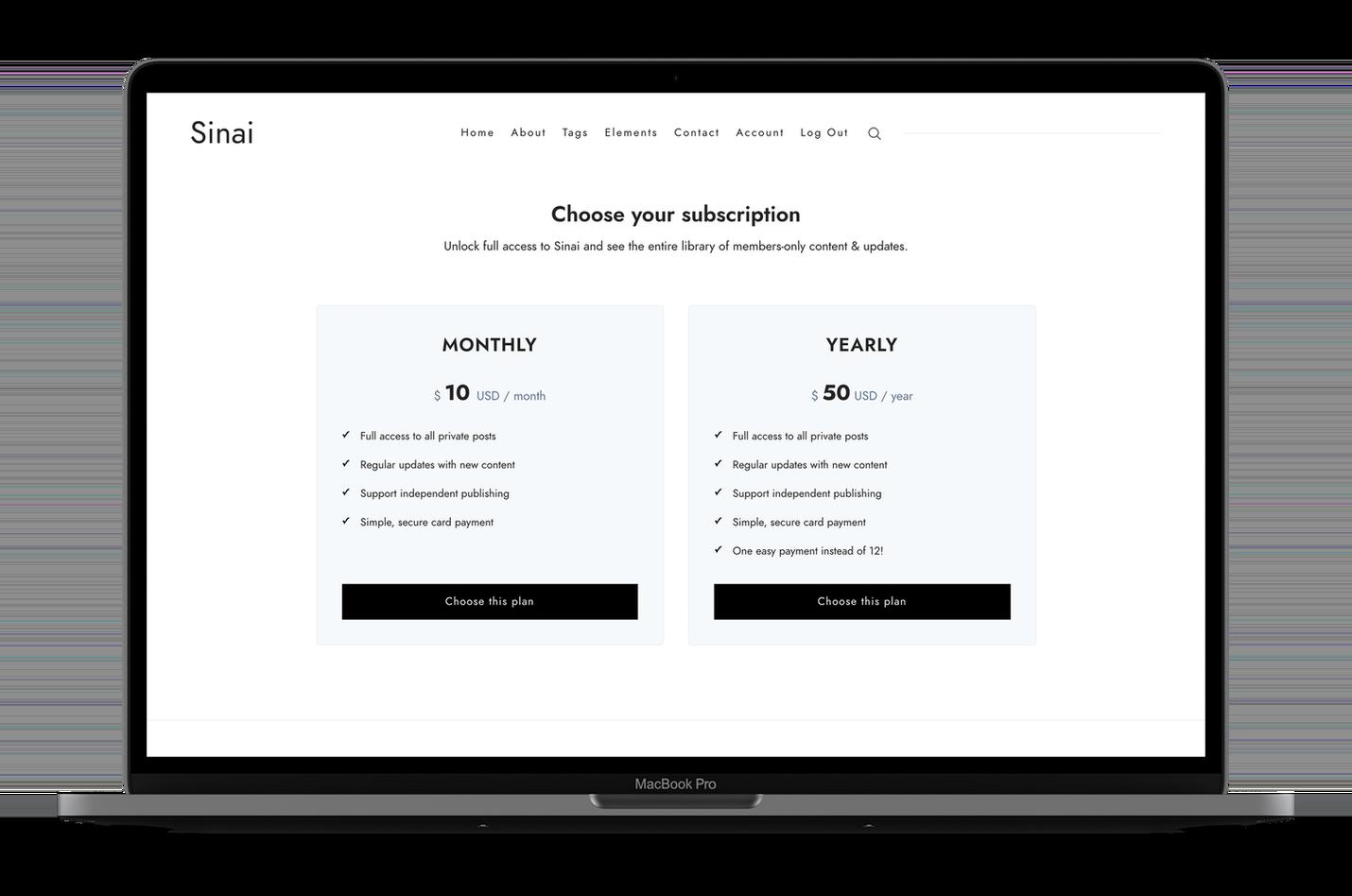 Sinai Pricing Page
