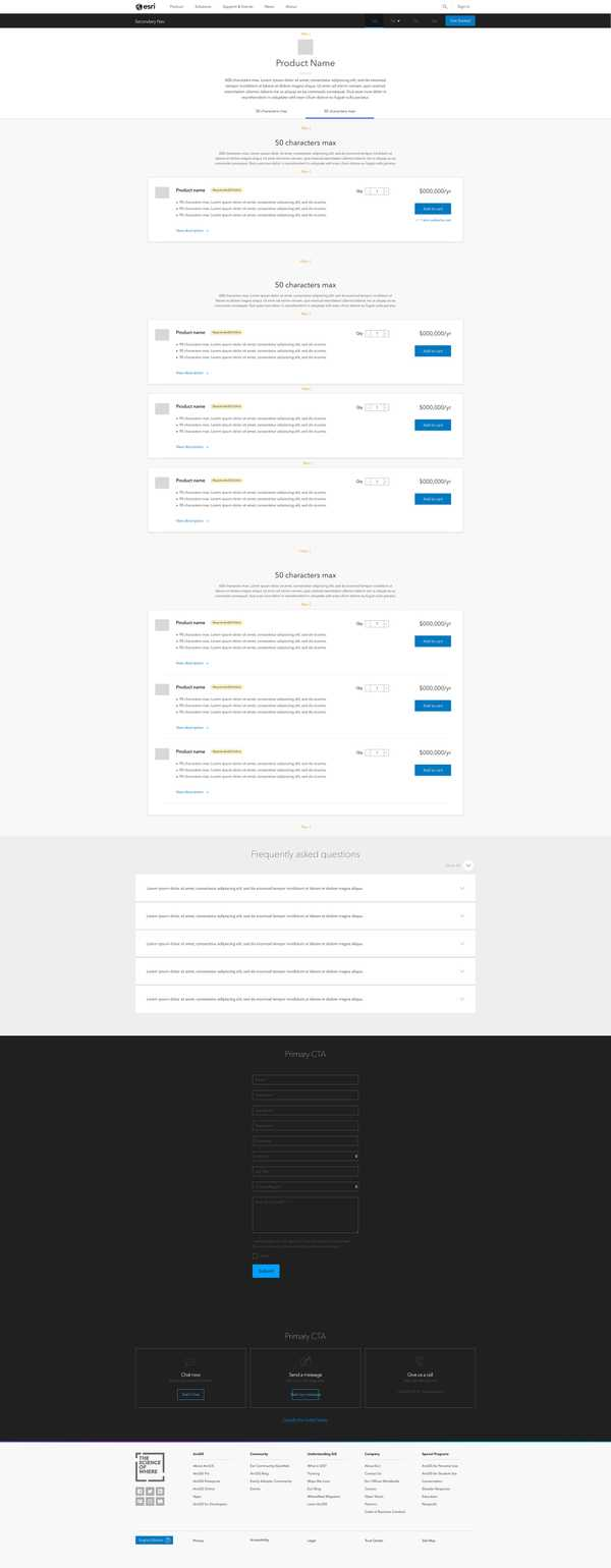 Buy page wireframe for primary products with cross-sell and/or up-sell (tabbed interface)