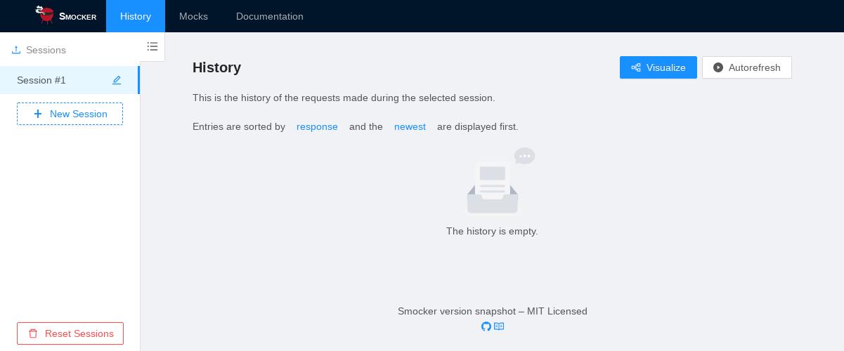 Smocker's user interface - Empty History