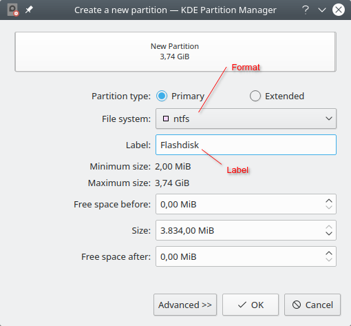 Membuat partisi pada KDE partition manager