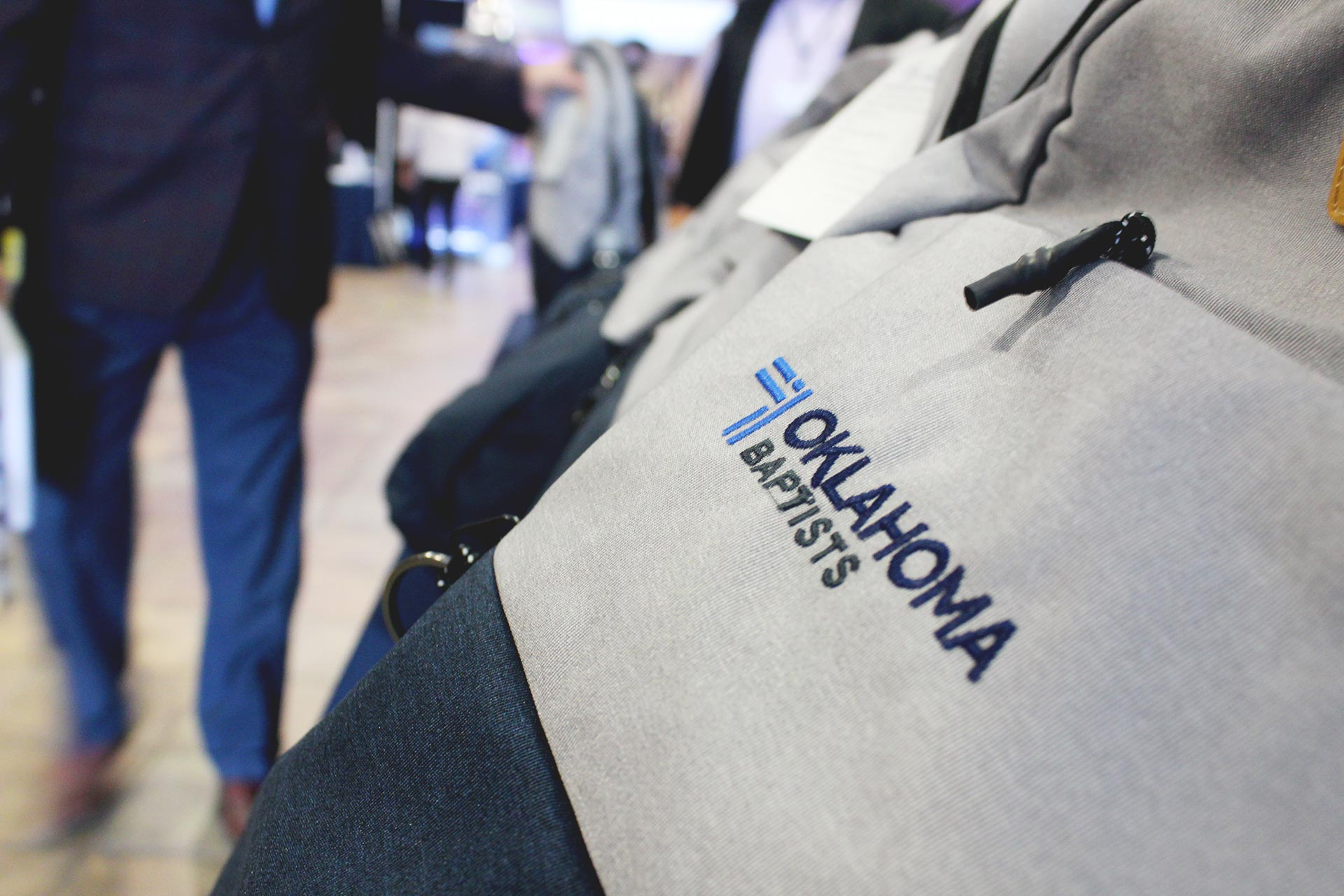 A backpack worn by an attendee of the 2020 Oklahoma Baptists Annual Meeting