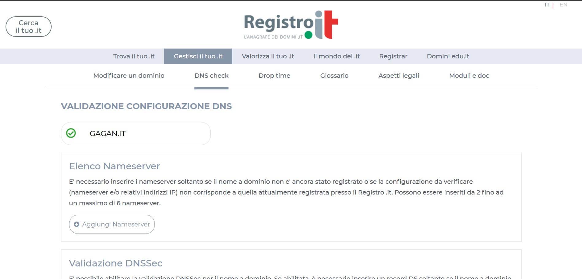 Verifica DNS Registrar .it