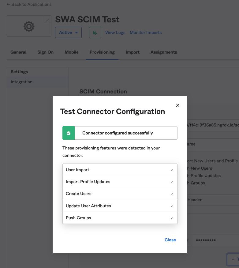 Test Connector Configuration UI Image