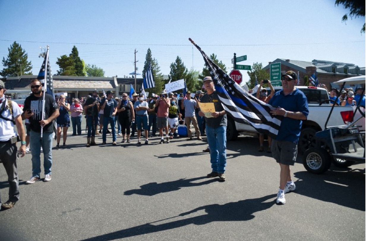 Nearly 1,000 Douglas County locals and militia members protested roughly 20 BLM activists. Photo by JJ Mazzucotelli