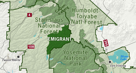 area map of Emigrant Wilderness