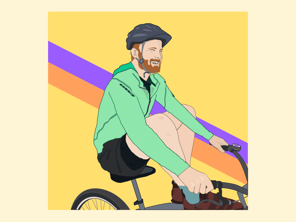 A vector illustration of my good friend Chris riding a bike with his feet up on the handlebars