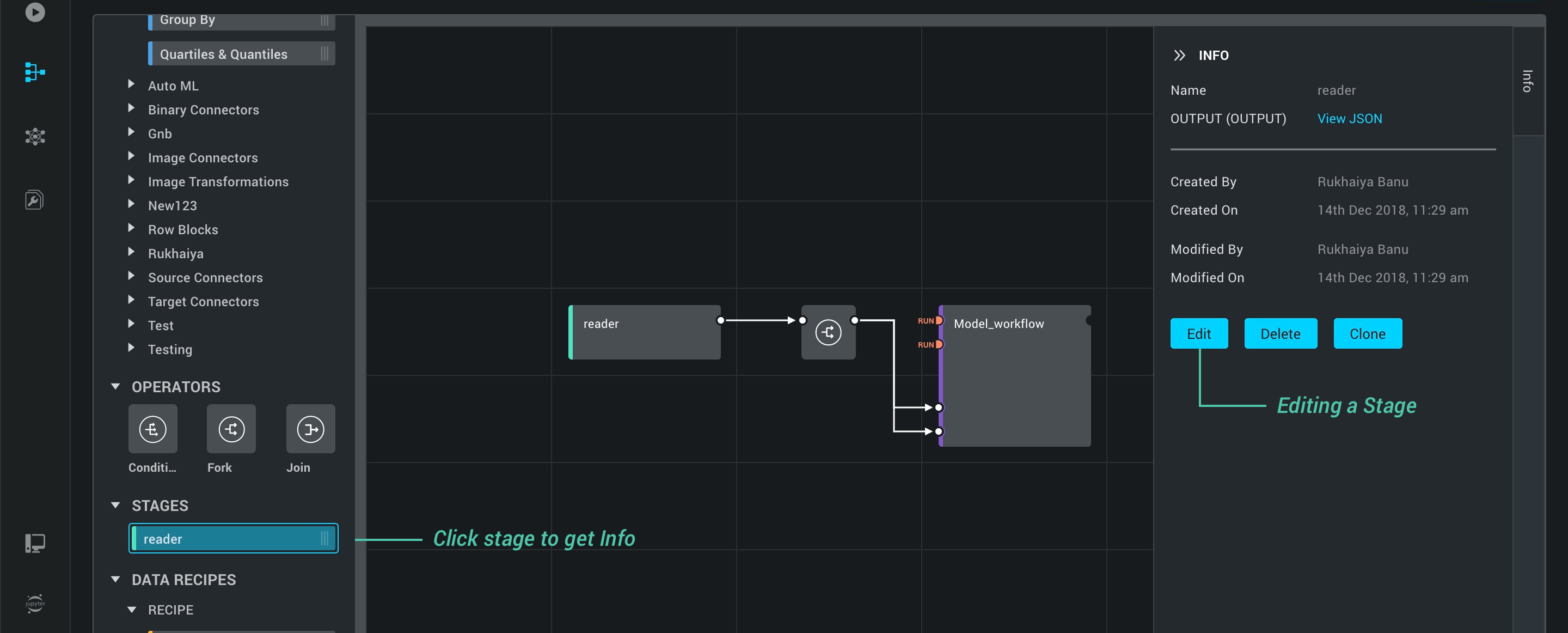 Editing a Stage