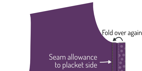 Sew down the folded placket