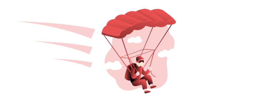 person in parachute steering