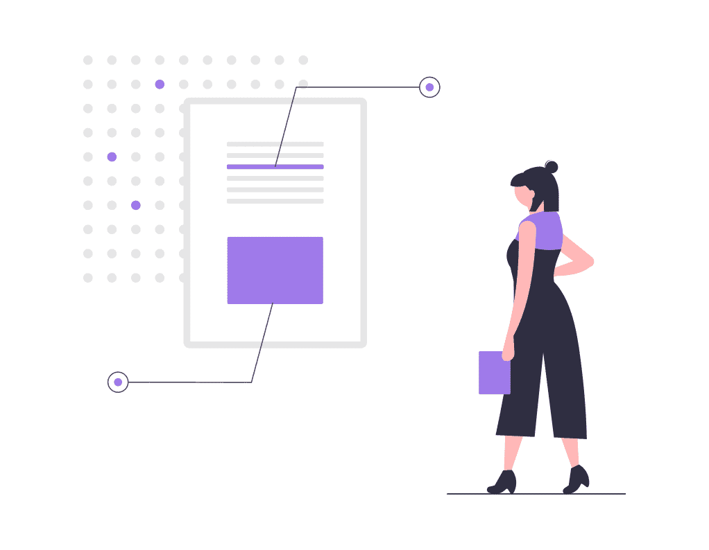 woman in purple standing next to a webpage analyzing where things go.