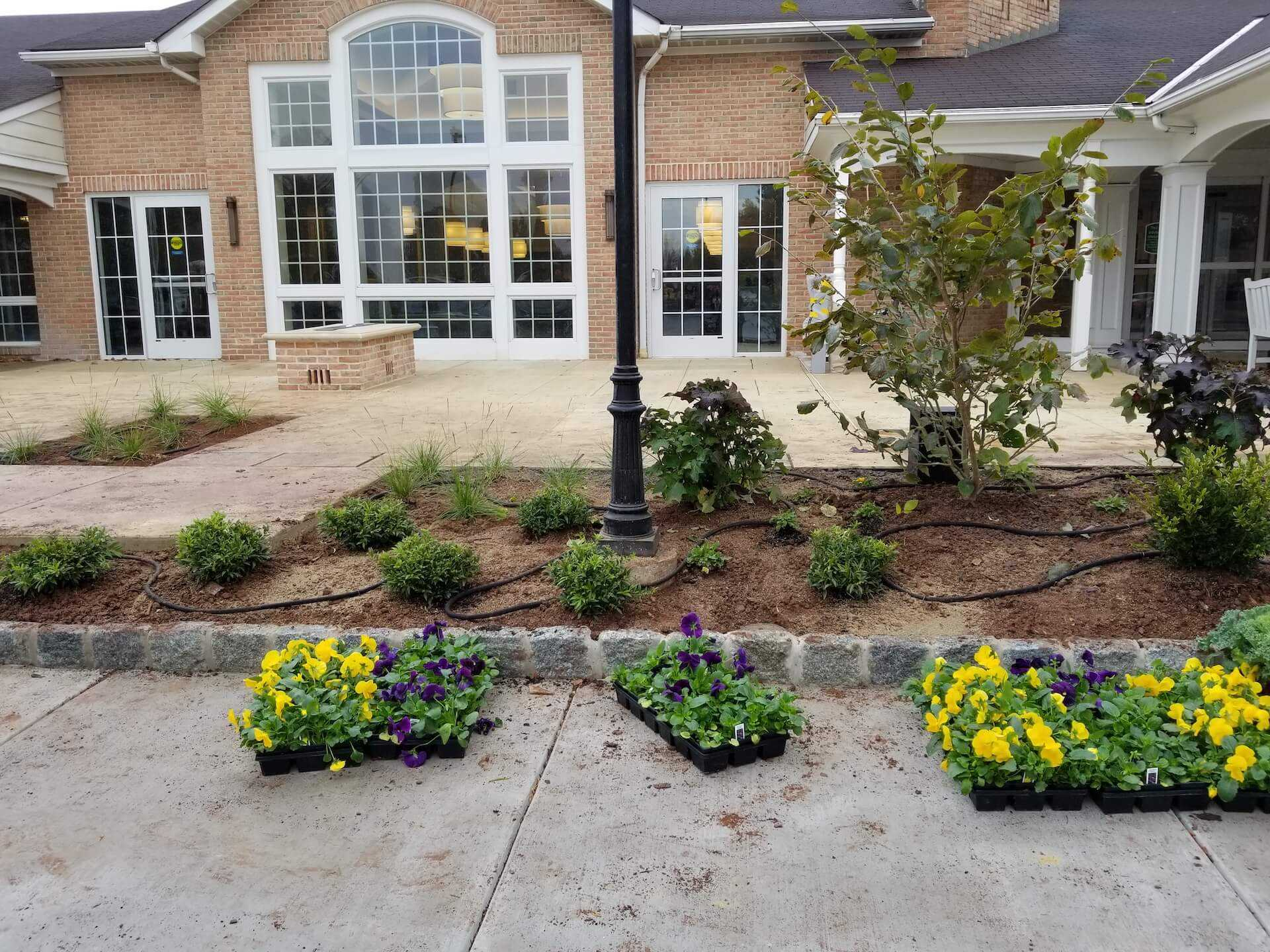 flower beds being irrigated next to patio area