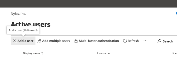 Office 365 Admin Center Add User