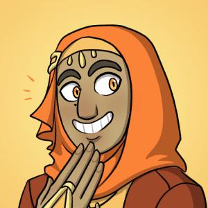 Yusra giggles.