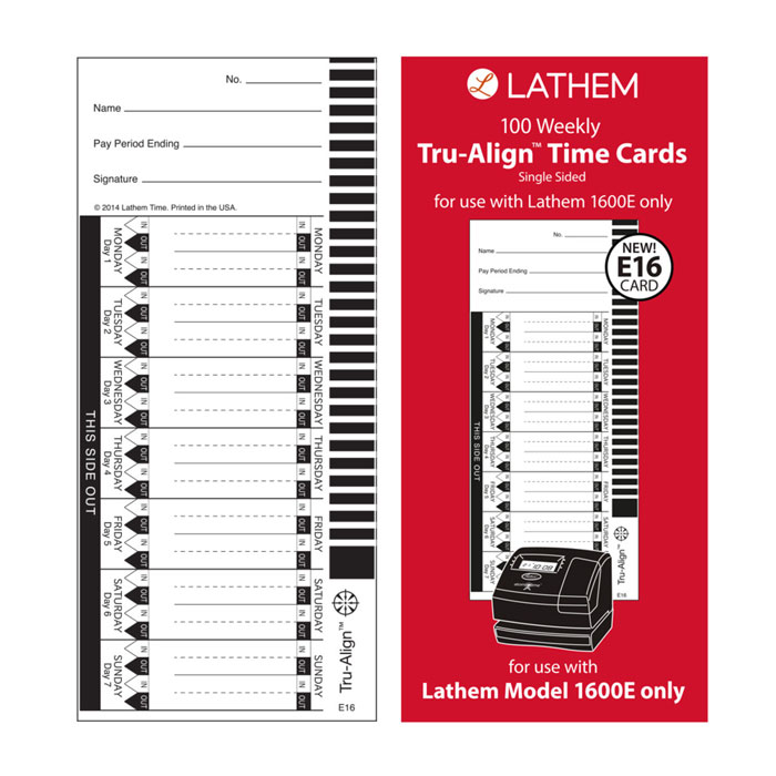 1600E Tru-Align Time Cards - Pack of 100