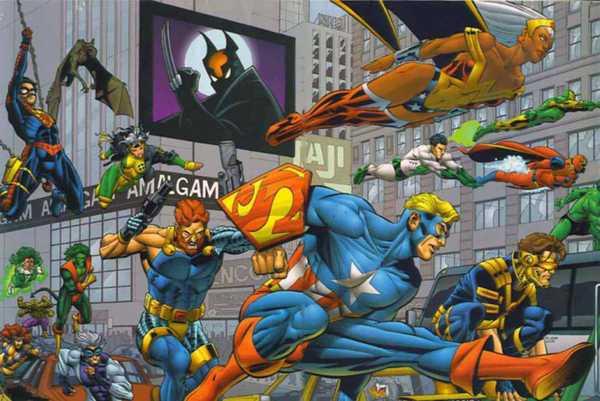 Personagens do universo Amalgama que uniu personagens da Marvel e da DC Comics