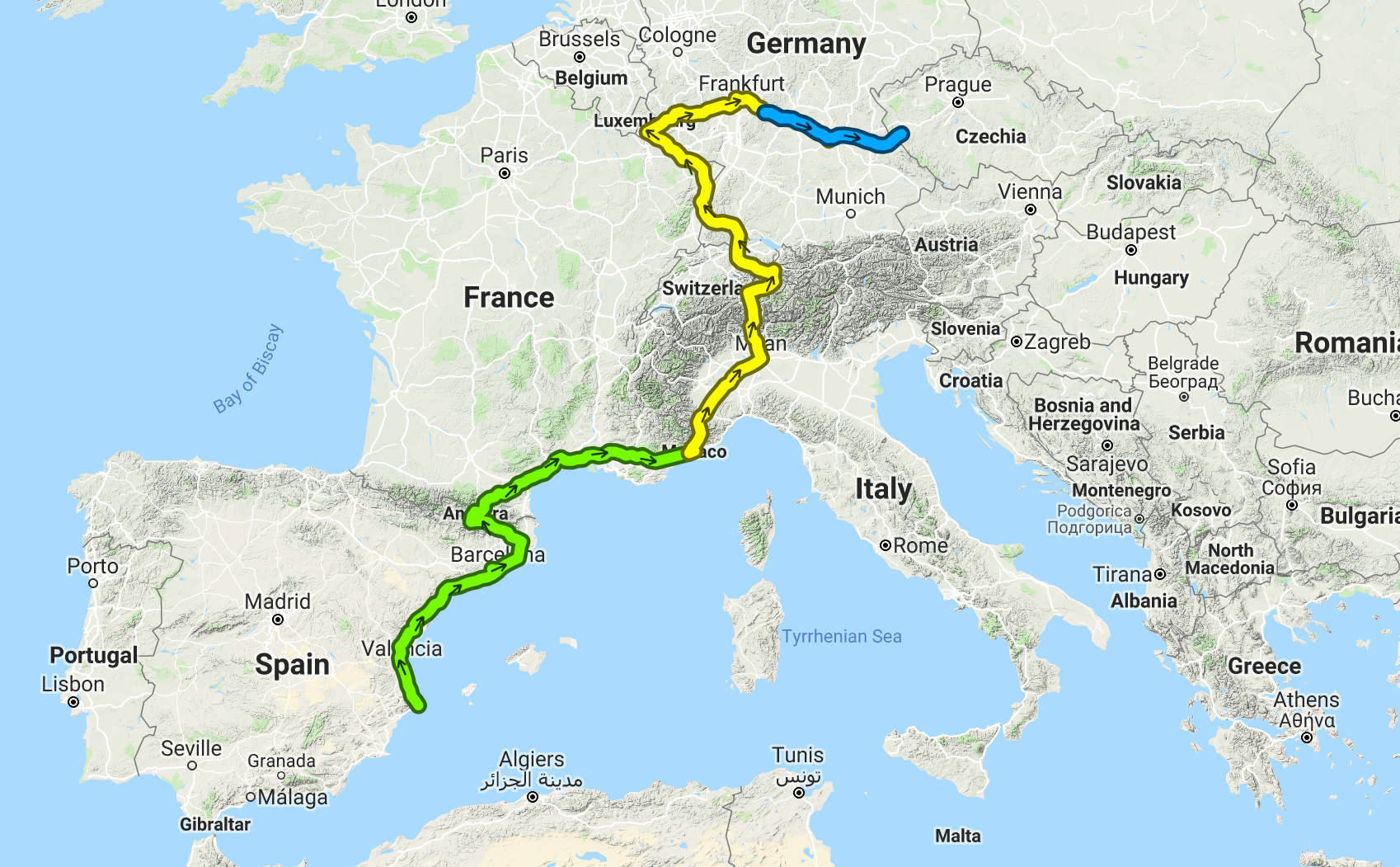 Progress from Spain to Germany in the least direct route